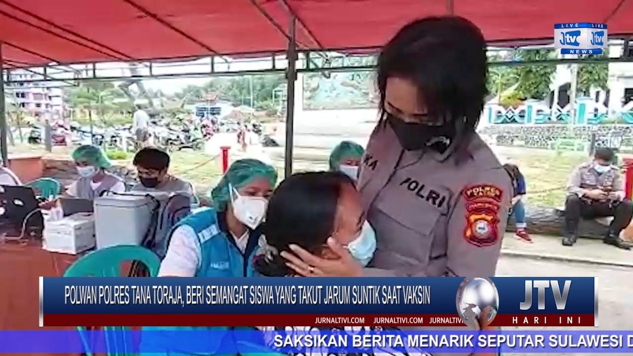 VIDEO : Polwan Polres Tana Toraja, Beri Semangat Siswa yang Takut Jarum Suntik saat Vaksin